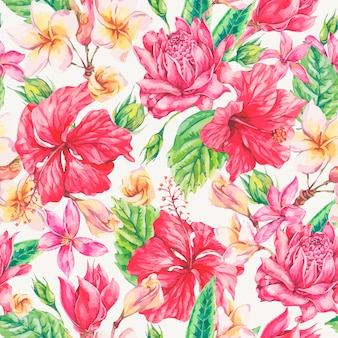 Vintage bright tropical flowers seamless pattern