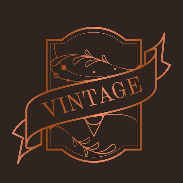 Vintage bronze art nouveau badge vector