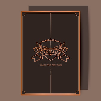 Vintage bronze art nouveau wedding invitation vector