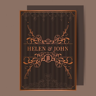 Vintage bronze art nouveau wedding invitation