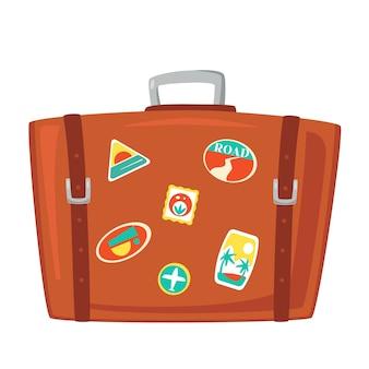 Vintage brown travel suitcase. case for tourism, voyage, trip, tour summer vacation.