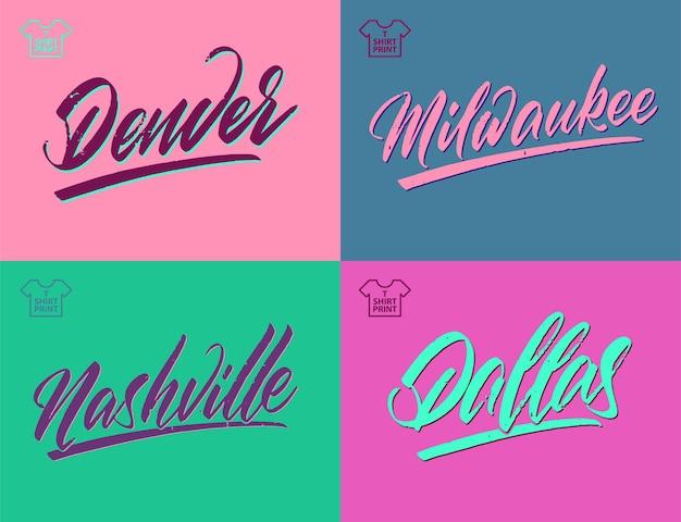 Vintage brush lettering of america cities denver dallas nashville milwaukee vector clipart