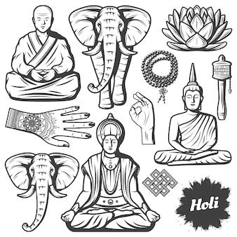 Винтажные элементы религии буддизма, установленные с буддийским монахом, слоном, четками, религиозными бусинами, цветком лотоса, руками, тибетское молитвенное колесо, изолированное