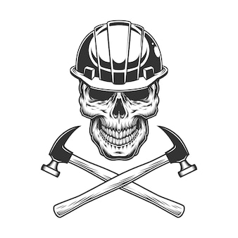 Cranio del costruttore vintage con martelli incrociati