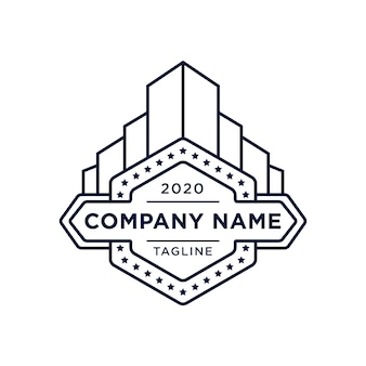 Vintage building logo with star