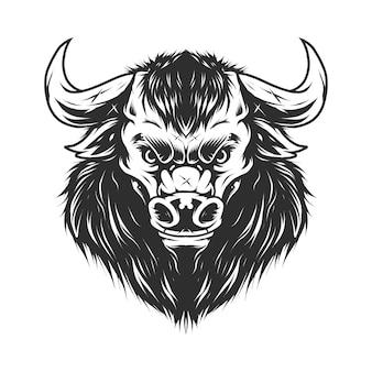 Винтажная голова быка в монохромном стиле