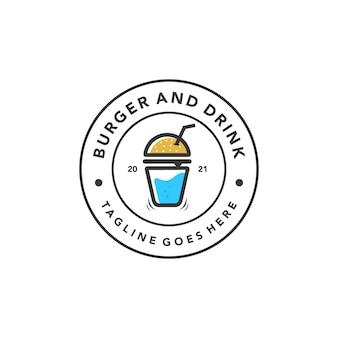 Vintage burger drink logo for fast food restaurant retro design vector template