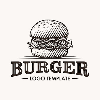 Vintage burger hand drawn logo illustration
