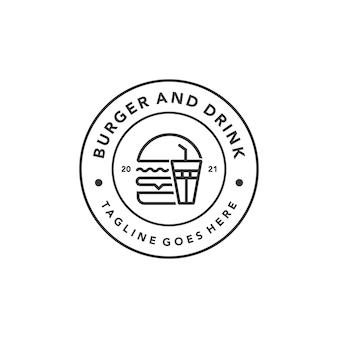 ファーストフードレストランレトロなデザインのベクトルテンプレートのヴィンテージハンバーガーのロゴ