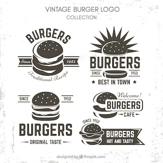 Vintage burger logo set