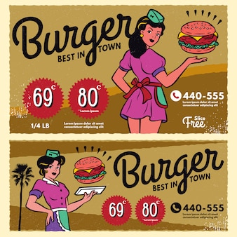 Vintage burger poster menu sign banner