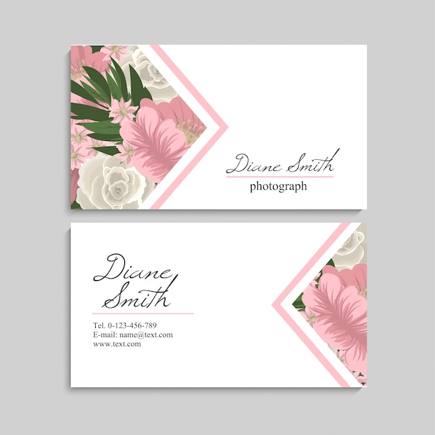 Vintage business card with blue flowers and berries