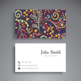 Винтажная визитная карточка с цветочными элементами