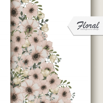 Vintage business card with flowers and berries