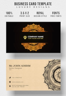 Vintage business card with template traditional pattern