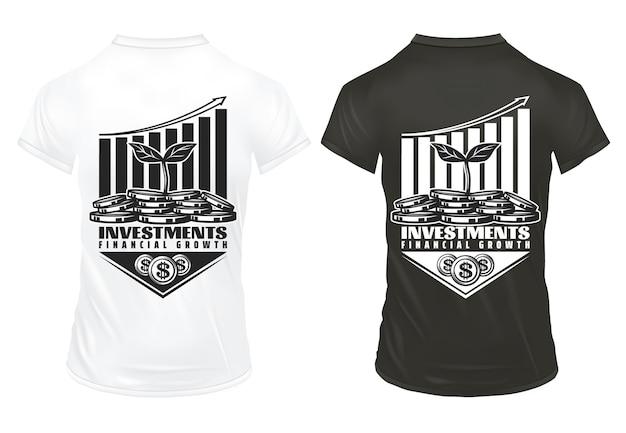 ヴィンテージのビジネス投資プリントコンセプトの碑文コインお金ツリーグラフ分離されたシャツの経済的成功の