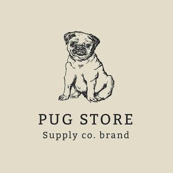 ヴィンテージ犬のパグイラストとヴィンテージビジネスロゴテンプレート