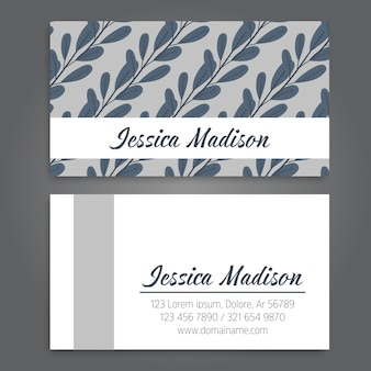 Vintage business and visiting card with floral pattern