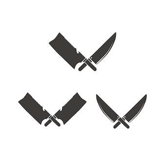 Vintage butcher knife cleaver cross for meat or chef logo