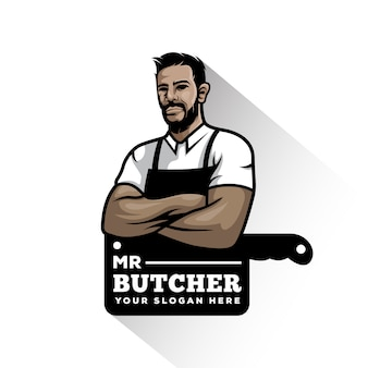 Vintage butcher shop illustration mascot logo