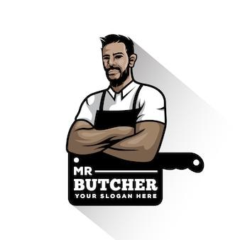 Логотип талисмана винтажного мясного магазина