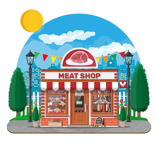 Винтажный фасад магазина мясника с витриной. уличный мясной рынок. счетчик витрины прилавка мясного магазина. колбасные ломтики деликатесный гастрономический продукт из говядины, свинины, курицы. плоский рисунок