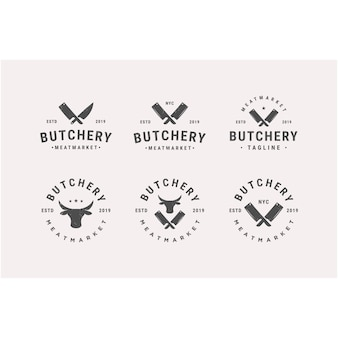 Vintage butchery vector logo design template