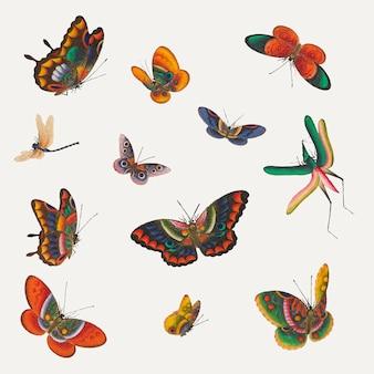 ヴィンテージ蝶と昆虫のイラストセット