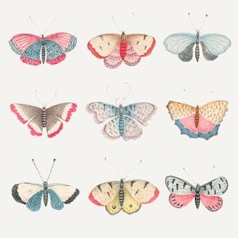 스미소니언 아카이브의 18 세기 예술 작품에서 리믹스 된 빈티지 나비와 나방 수채화 삽화 세트.