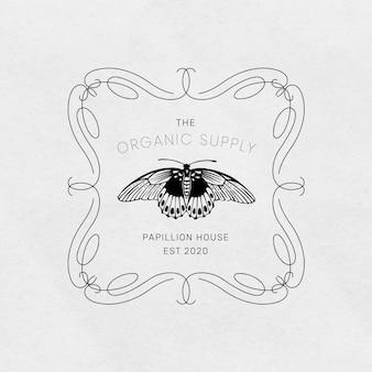Vintage butterfly logo linocut editable template