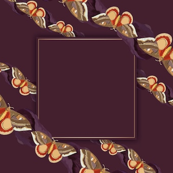 Vintage butterfly pattern frame vector, remix from the naturalist's miscellany by george shaw