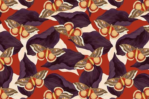 Vintage butterfly vector floral pattern, remix from the naturalist's miscellany by george shaw