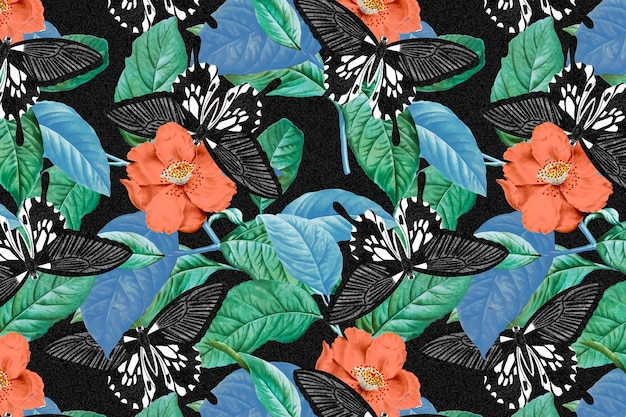 ヴィンテージバタフライベクトル花柄、ジョージショーによる自然主義者の雑貨からのリミックス