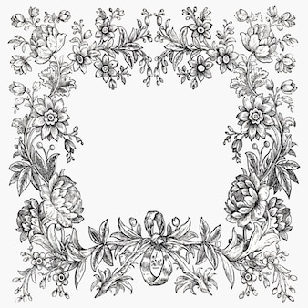 Винтажная черно-белая цветочная рамка, ремикс из коллекции общественного достояния
