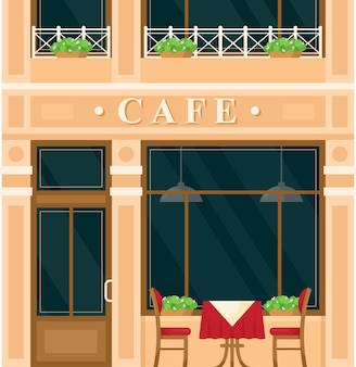 Vintage cafe house building. cartoon european city street with building green exterior