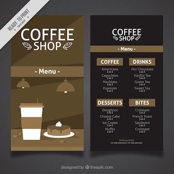 Vintage cafe menu in flat design