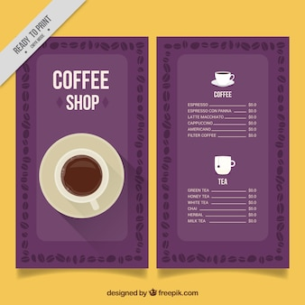 Vintage cafe menu in purple
