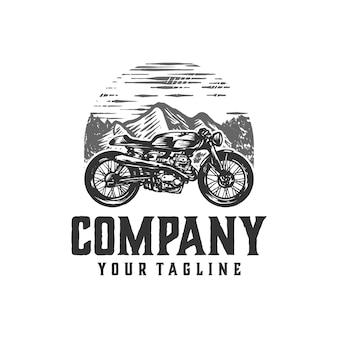 Винтажное кафе гонщик мотоцикл логотип
