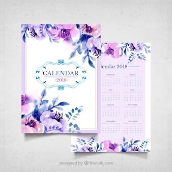 Vintage calendar of watercolor flowers in purple tones
