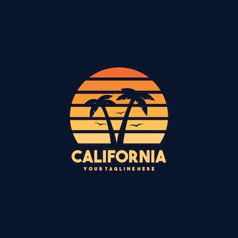 Vintage california beach logo design