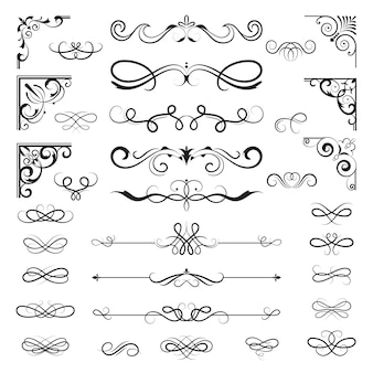Vintage calligraphic borders. floral dividers and corners for decoration designs ornate elements