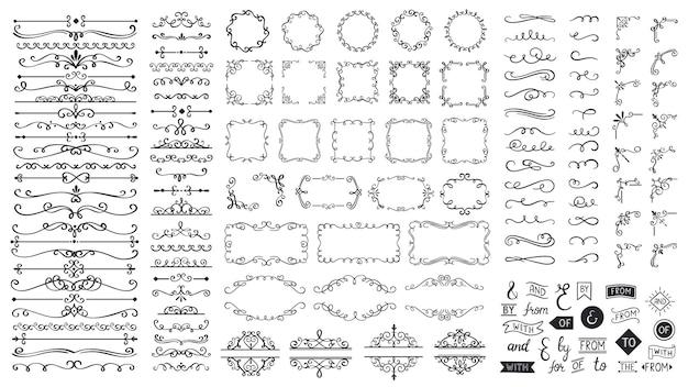 ヴィンテージ書道の要素。装飾的なフレーム、繁栄する仕切り、ボーダー。美しい渦巻き、モチーフや巻物で飾られた流し。カードベクトルの円、正方形、長方形のフレーム