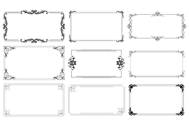 Старинные каллиграфические рамки на белом blackground