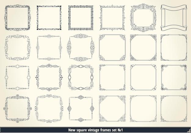 Vintage calligraphic frames set black and white vector border