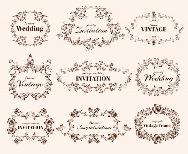 Vintage calligraphic frames