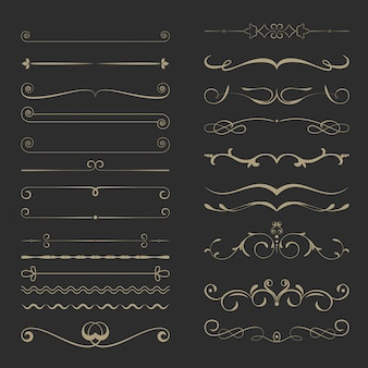 Vintage calligraphic page dividers set