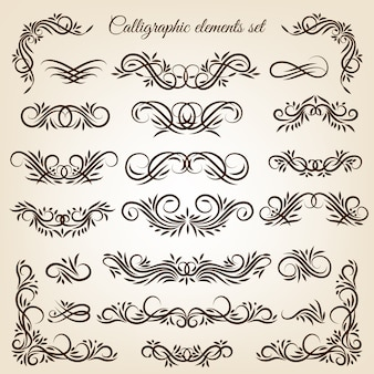 Vintage calligraphic swirls ornaments set