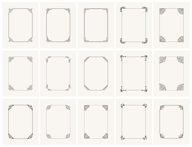 Винтажные каллиграфические шаблонные вертикальные рамки