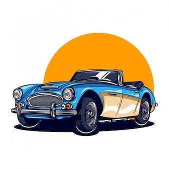 Vintage calssic car illustration with solid color