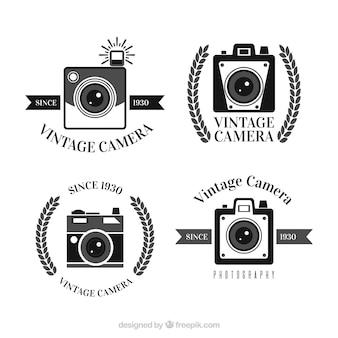 Vintage camera logo collection Free Vector